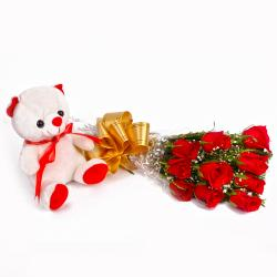 Cute Teddy Bear with Bunch of Ten Red Roses