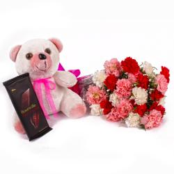 Cute Teddy Bear with Carnations Bouquet and Bournville Chocolate Bar