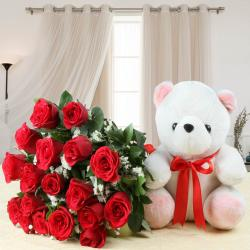 Cute Teddy Bear with Eighteen Red Roses