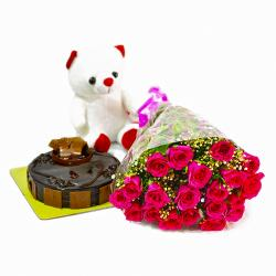 Cute Teddy Bear with Pink Roses Bunch and Chocolate Cake