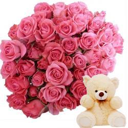 Cute Teddy with Pretty Flowers