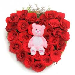 Cute Teddy with Rose Heart For You