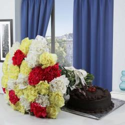 Dark Chocolate Cake and Mix Carnations Bouquet