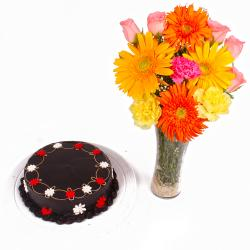 Dark Chocolate Cake with Dozen Flowers in Vase