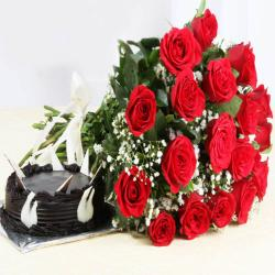 Dark Chocolate Cake with Eighteen Red Roses Bouquet