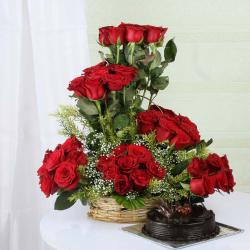 Dark Chocolate Cake with Exotic Roses Arrangement
