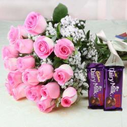 Dazzling of Pink Roses with Cadbury Dairy Milk Chocolates