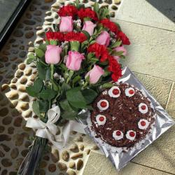 Delicious Black Forest Cake and Mix Flowers Bouquet