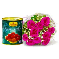 Delicious Gulab Jamuns with Bouquet of Pink Roses