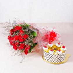 Delicious Half Kg Pineapple Cake with 20 Love Red Roses