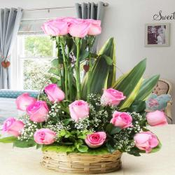 Delightful Arrangement of Pink Roses in Basket