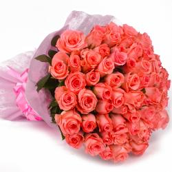 Designer Pink Roses Bouquet with Tissue Packing