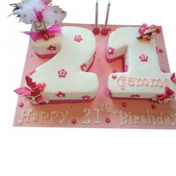Double Number Shaped Eggless Cake