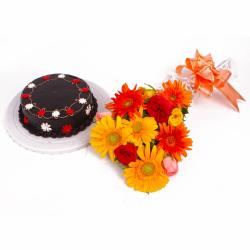 Dozen Colorful Flowers Hand Tied and Chocolate Cake