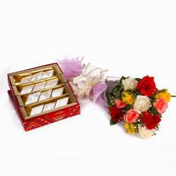 Dozen Colorful Roses with Kaju Katli