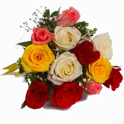 Dozen Mix Roses in Cellophane Wrapped