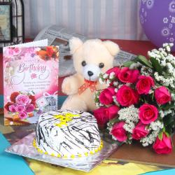 Dozen Pink Roses Birthday Bouquet with Cake and Teddy Bear