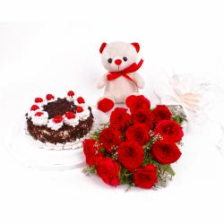 Dozen Red Rose and Half Kg Black Forest Cake with Teddy Bear