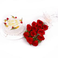 Dozen Red Roses and Pineapple Cake Combo