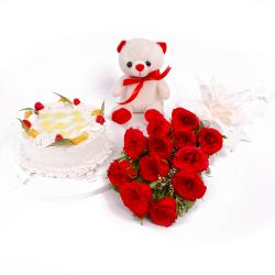 Dozen Red Roses and Pineapple Cake with Soft Toy