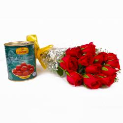 Dozen Red Roses Bunch with Pack of Gulab Jamuns