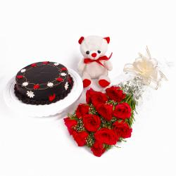 Dozen Red Roses with Chocolate Cake and Teddy Bear