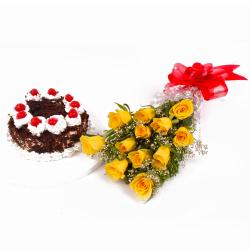 Dozen Yellow Roses with Eggless Black Forest Cake