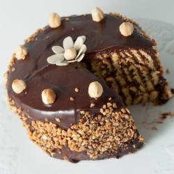 Dressed Hazelnut Latte Chocolate Cake