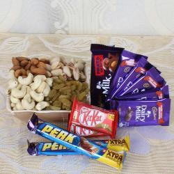Dry Fruits in Box 500 Grams and Chocolates Combo Same Day Delivery