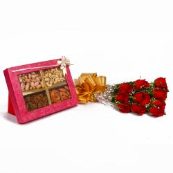 Dryfruits and Ten Red Roses Combo