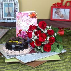 Eggless Birthday Cake with Card and Roses