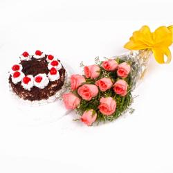 Eggless Black Forest Cake and Pink Roses Bouquet