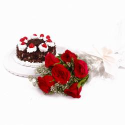 Eggless Black Forest Cake and Red Roses Bouquet