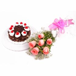 Eggless Black Forest Cake and Six Pink Roses Bouquet