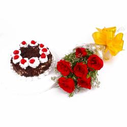 Eggless Black Forest Cake with Beautiful Six Red Roses