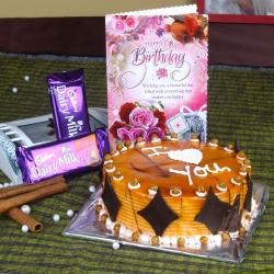 Eggless Butterscotch Cake and Chocolates with Birthday Greeting Card