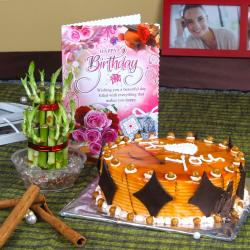 Eggless Butterscotch Cake and Good Luck Plant with Birthday Greeting Card