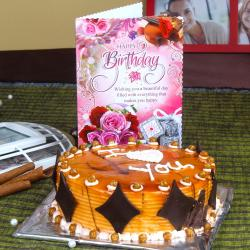 Eggless Butterscotch Cake with Birthday Greeting Card