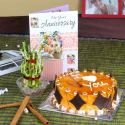 Eggless Butterscotch Cake with Good Luck Plant and Anniversary Card