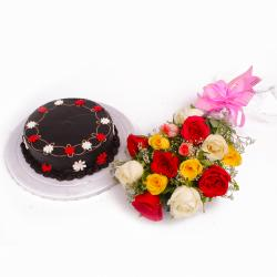Eggless Chocolate Cake and Dozen Assorted Roses Bouquet