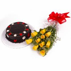 Eggless Chocolate Cake with 10 Yellow Roses Bunch