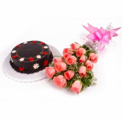 Eggless Chocolate Cake with Bouquet of Fifteen Pink Roses