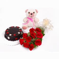 Eggless Chocolate Cake with Red Roses and Teddy Soft Toy