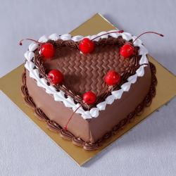 Eggless Chocolate Heart Shape Cherry Cake