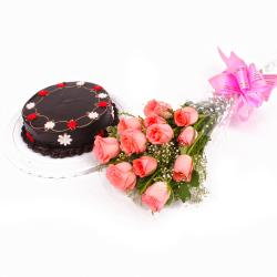 Eggless Half Kg Chocolate Cake with Pink Roses Bunch