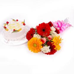 Eggless Pineapple Cake and Colorful Fresh Flowers