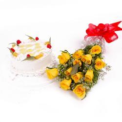 Eggless Pineapple Cake and Dozen Yellow Roses