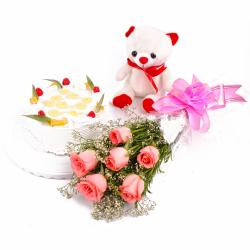 Eggless Pineapple Cake and Pink Roses with Soft Toy