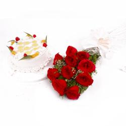 Eggless Pineapple Cake and Red Roses Bouquet