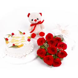 Eggless Pineapple Cake and Ten Red Roses with Teddy Bear